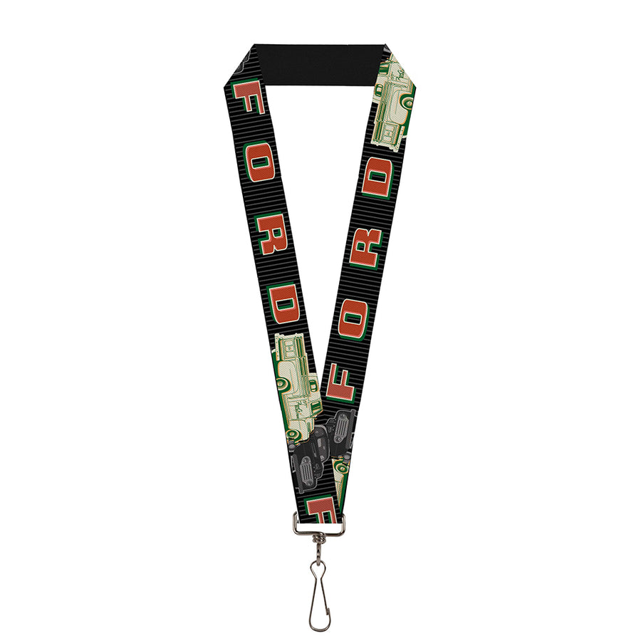 "Lanyard - 1.0"" - FORD Classic Ford Trucks Vertical Stripe Black Grays Green Red"