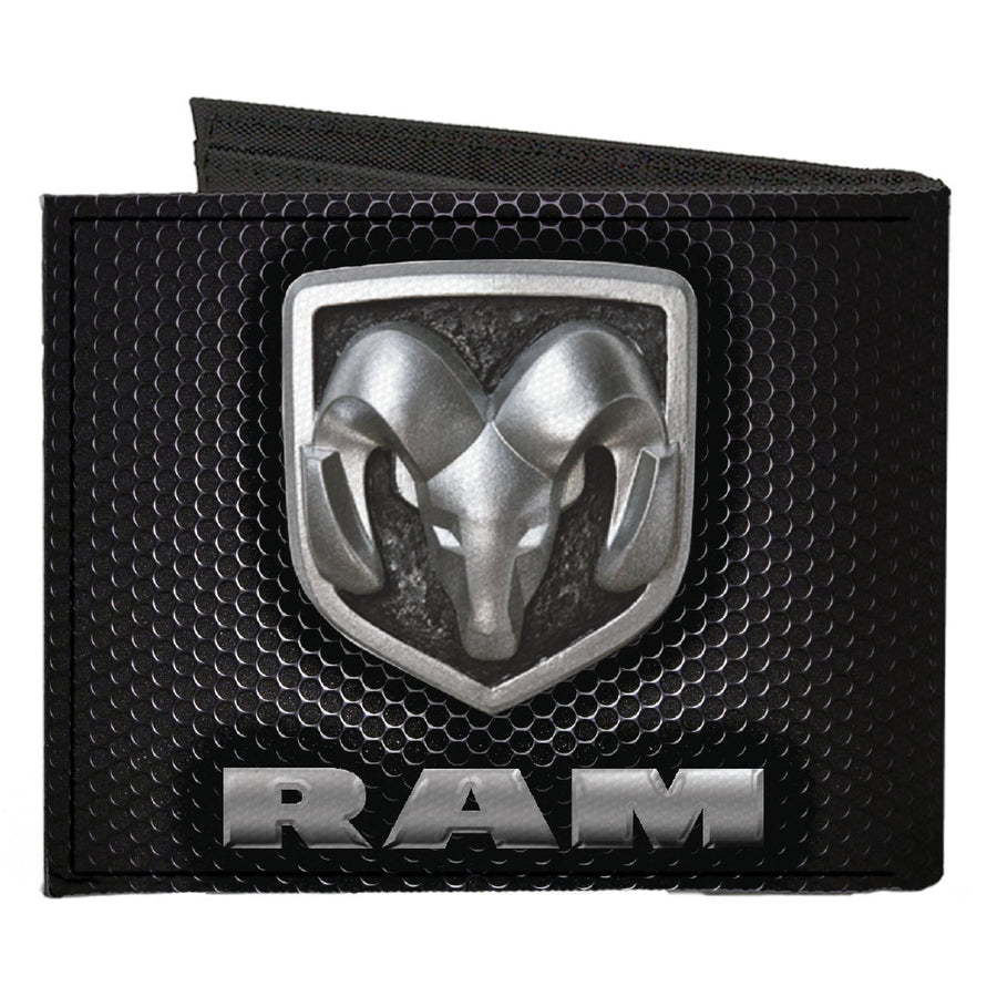 Canvas Bi-Fold Wallet - RAM Shield Logo Text Honeycomb Black Grays