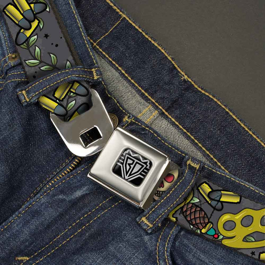 BD Wings Logo CLOSE-UP Full Color Black Silver Seatbelt Belt - Born to Raise Hell Gray Webbing