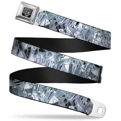 BD Wings Logo CLOSE-UP Full Color Black Silver Seatbelt Belt - Crystals3 Clear Webbing