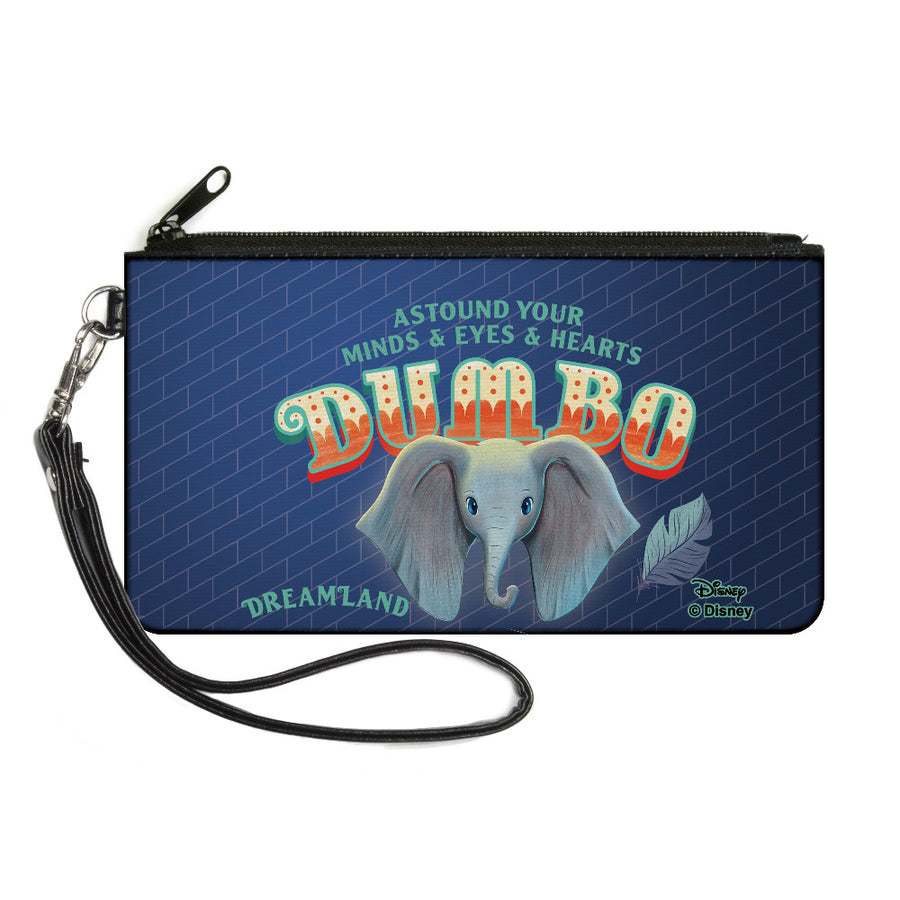 Canvas Zipper Wallet - SMALL - Dumbo Face Feather ASTOUND YOUR MIND & EYES & HEARTS Circus Sign Blues