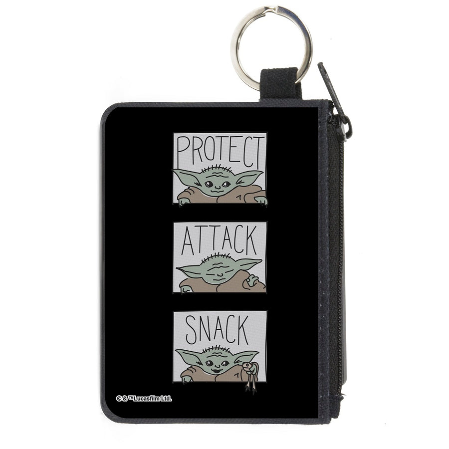 Canvas Zipper Wallet - MINI X-SMALL - Star Wars The Child PROTECT ATTACK SNACK Pose Blocks Black