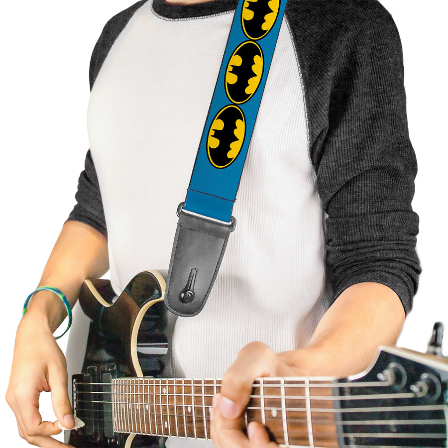 Guitar Strap - Bat Signal-3 Blue Black Yellow