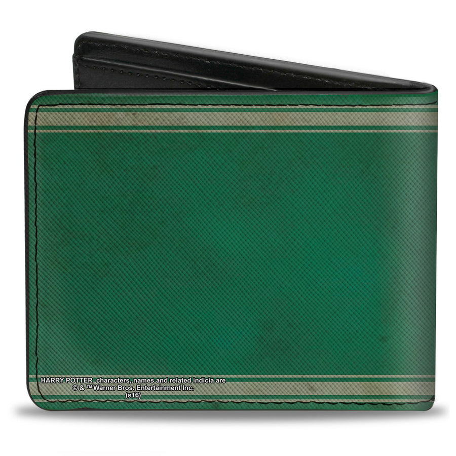 Bi-Fold Wallet - SLYTHERIN Crest Stripe6 Weathered Greens Grays