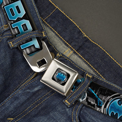 Bat Signal Full Color Black Gray Blues Seatbelt Belt - BATMAN Poses/Bat Signal CLOSE-UP Black/Grays/Blues Webbing
