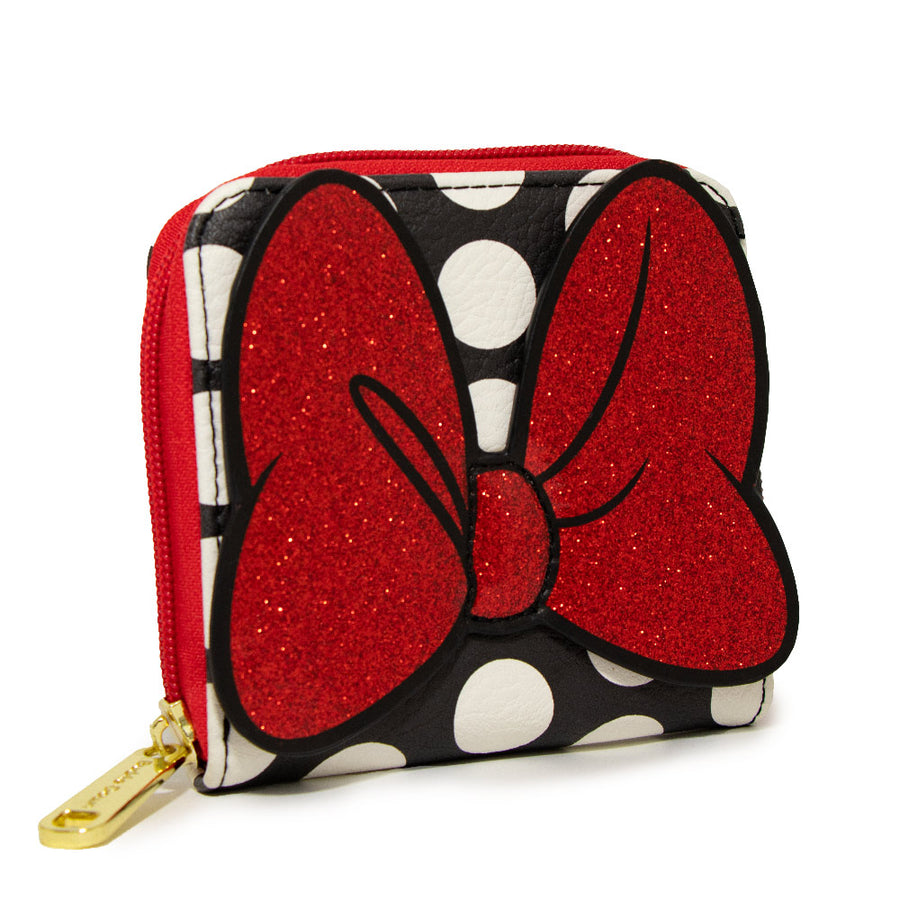 Women's Zip Around Wallet Square - Minnie Mouse Glitter Bow