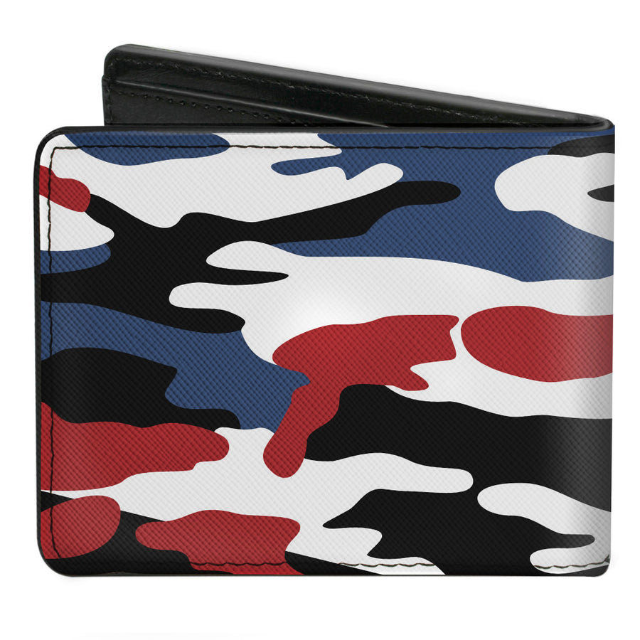 Bi-Fold Wallet - FORD Text + Americana Camo Black White Red Blue