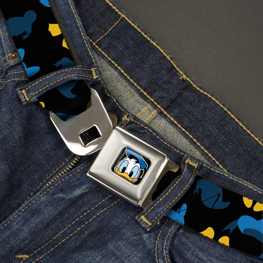Donald Duck Face CLOSE-UP Full Color Seatbelt Belt - Donald Duck Elements Scattered Black/Blues/Yellow Webbing