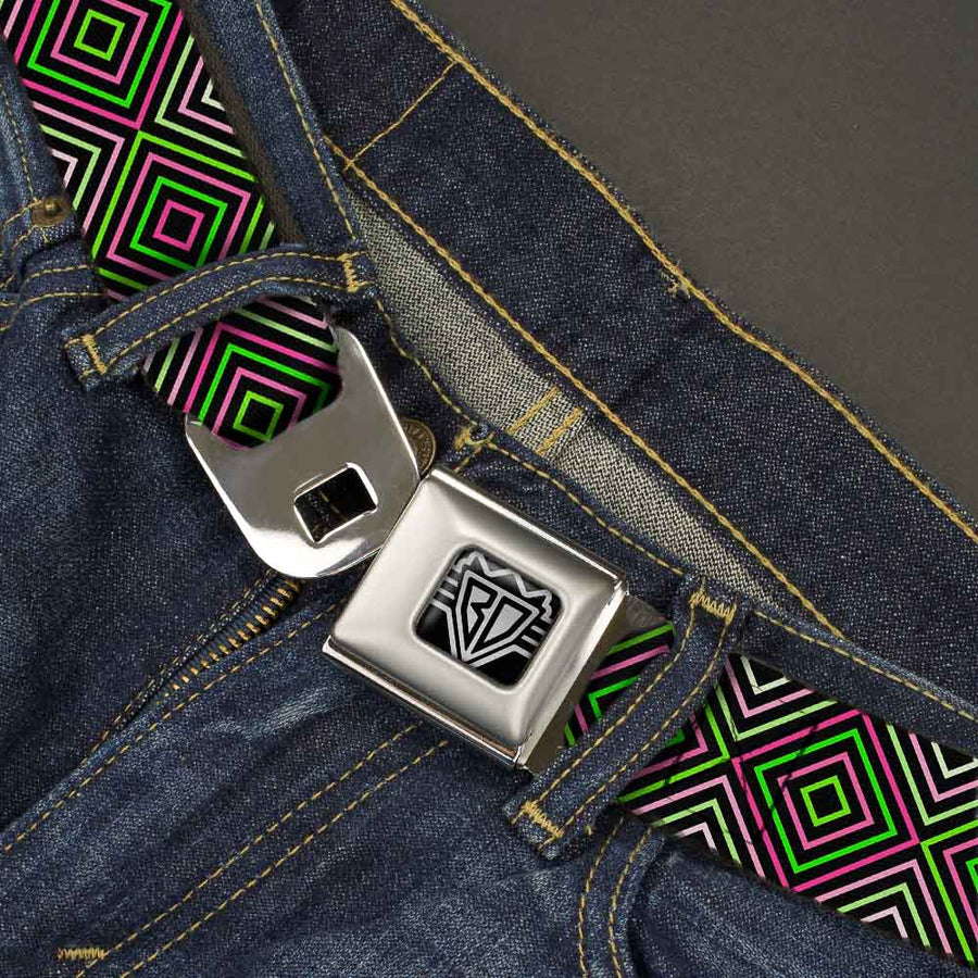 BD Wings Logo CLOSE-UP Full Color Black Silver Seatbelt Belt - Square Lines Black/Greens/Pinks Webbing