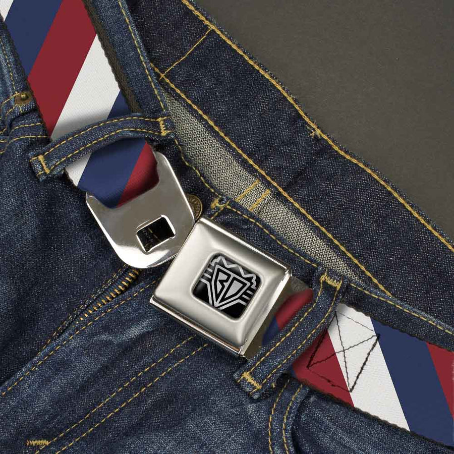 BD Wings Logo CLOSE-UP Full Color Black Silver Seatbelt Belt - Diagonal Stripe Red/White/Navy Webbing