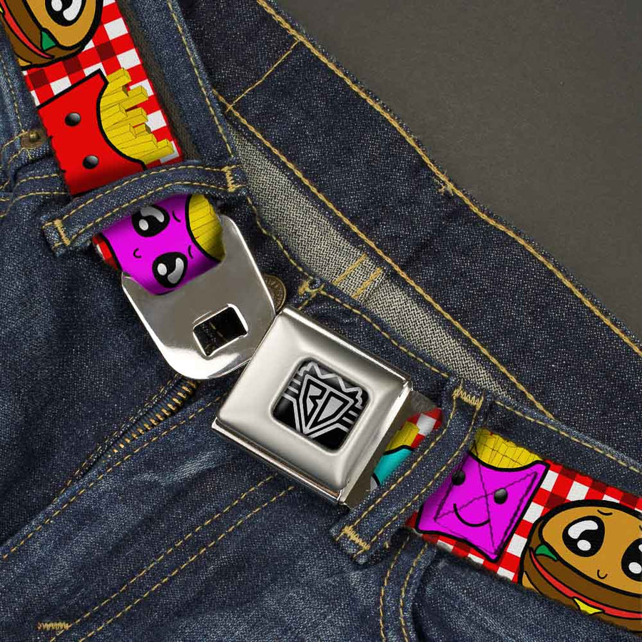 BD Wings Logo CLOSE-UP Full Color Black Silver Seatbelt Belt - Burger & Fries Cartoon Webbing