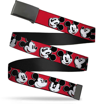 Black Buckle Web Belt - Mickey Mouse Expressions Red/Black/White Webbing