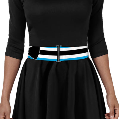 Cinch Waist Belt - Alice in Wonderland Stripe Bow Silhouette Blue Black White