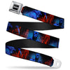 Batman Black Silver Seatbelt Belt - Batman 2-Poses-Buildings Black/Reds/Blues Webbing