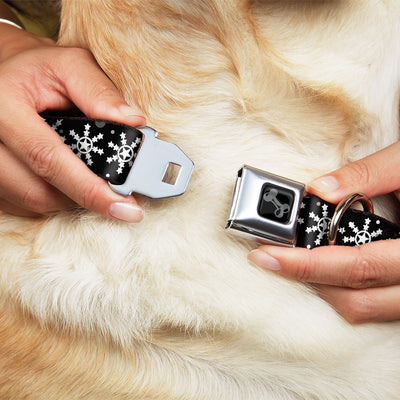 Dog Bone Black/Silver Seatbelt Buckle Collar - Starry Snowflakes Black/White/Gray