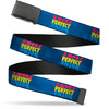 Black Buckle Web Belt - A MORE PERFECT UNION/US FLAG Blues/Red/Yellow/Blue Webbing