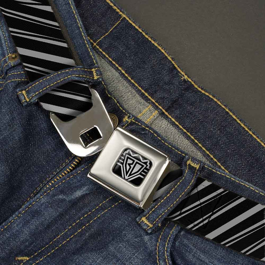 BD Wings Logo CLOSE-UP Full Color Black Silver Seatbelt Belt - Diagonal Stripes Scribble Gray/Black Webbing