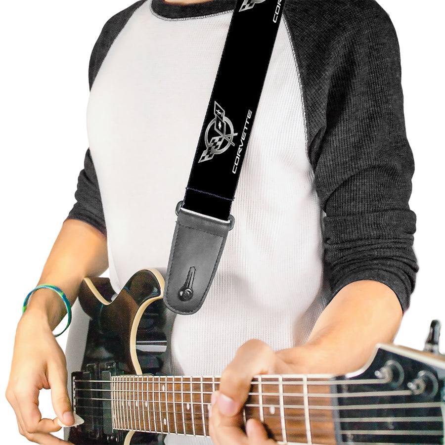 Guitar Strap - Corvette Black Silver Logo Repeat