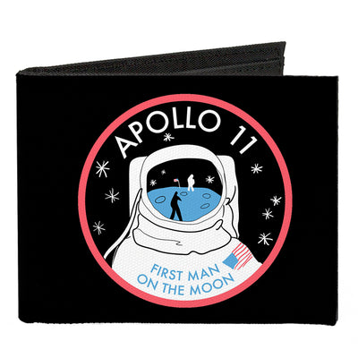 Canvas Bi-Fold Wallet - APOLLO 11-FIRST MAN ON THE MOON Black White Red Blues