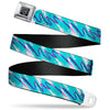 BD Wings Logo CLOSE-UP Black/Silver Seatbelt Belt - Jazzy Wave Scribble White/Teal/Purple Webbing
