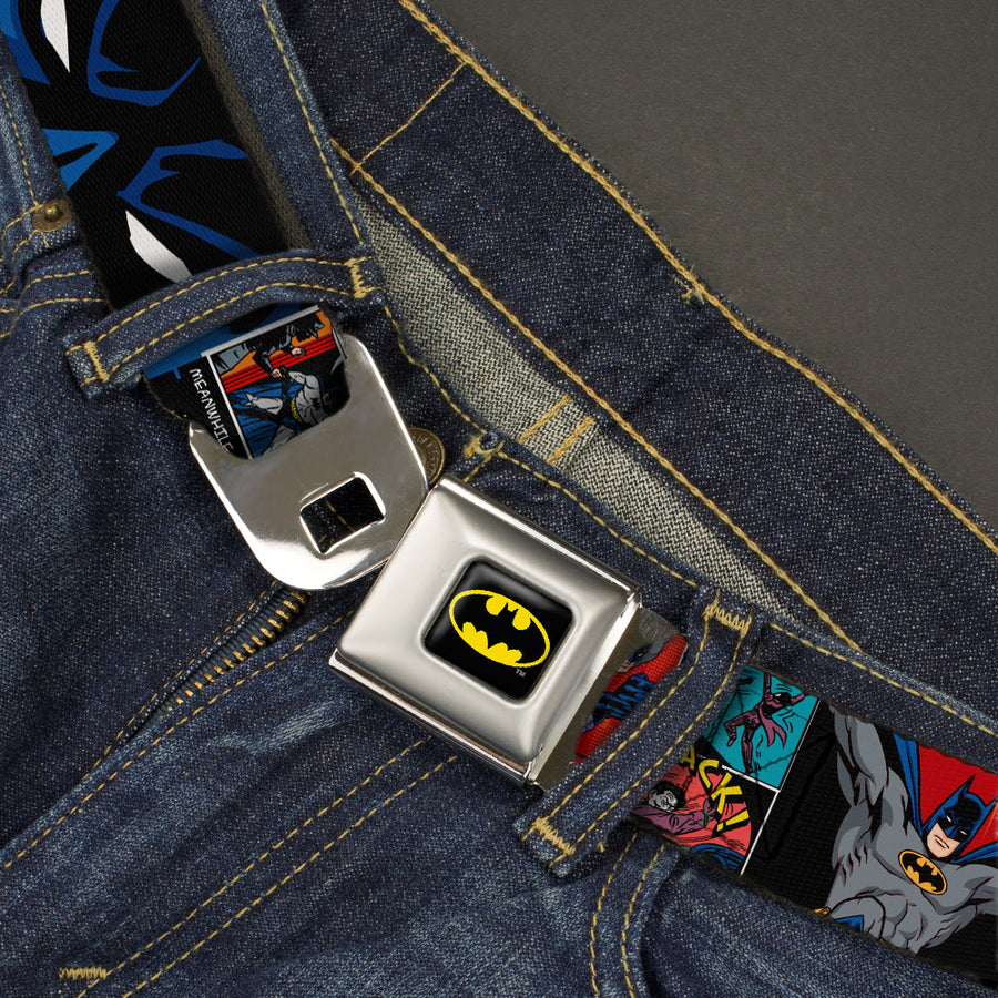 Batman Full Color Black Yellow Seatbelt Belt - Batman & Joker Comic Strip Webbing