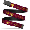 Black Buckle Web Belt - MACUSA/Seal Reds/Golds/White Webbing