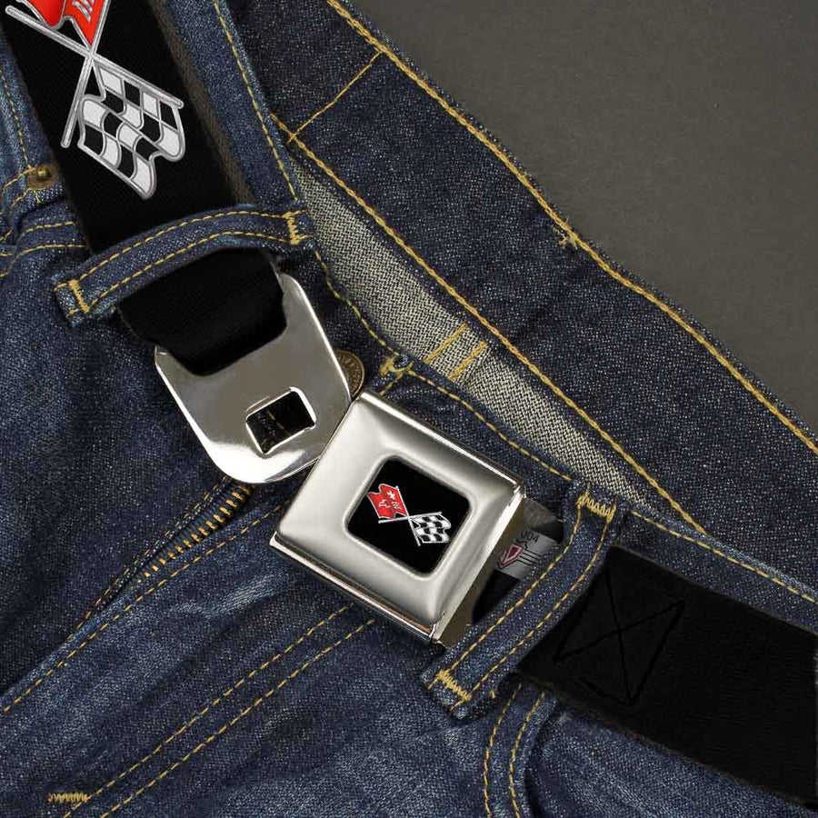 Corvette C3 Crossed Flags Logo Full Color Black Seatbelt Belt - C3 Webbing