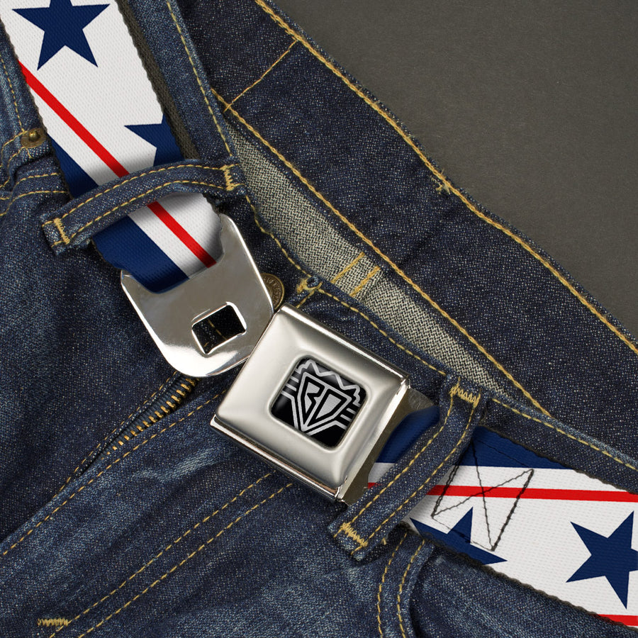 BD Wings Logo CLOSE-UP Full Color Black Silver Seatbelt Belt - Americana Diagonal Stars & Stripes White/Red/Blue Webbing