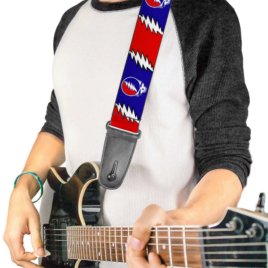 Guitar Strap - Steal Your Face w Lightning Bolt Repeat Red White Blue