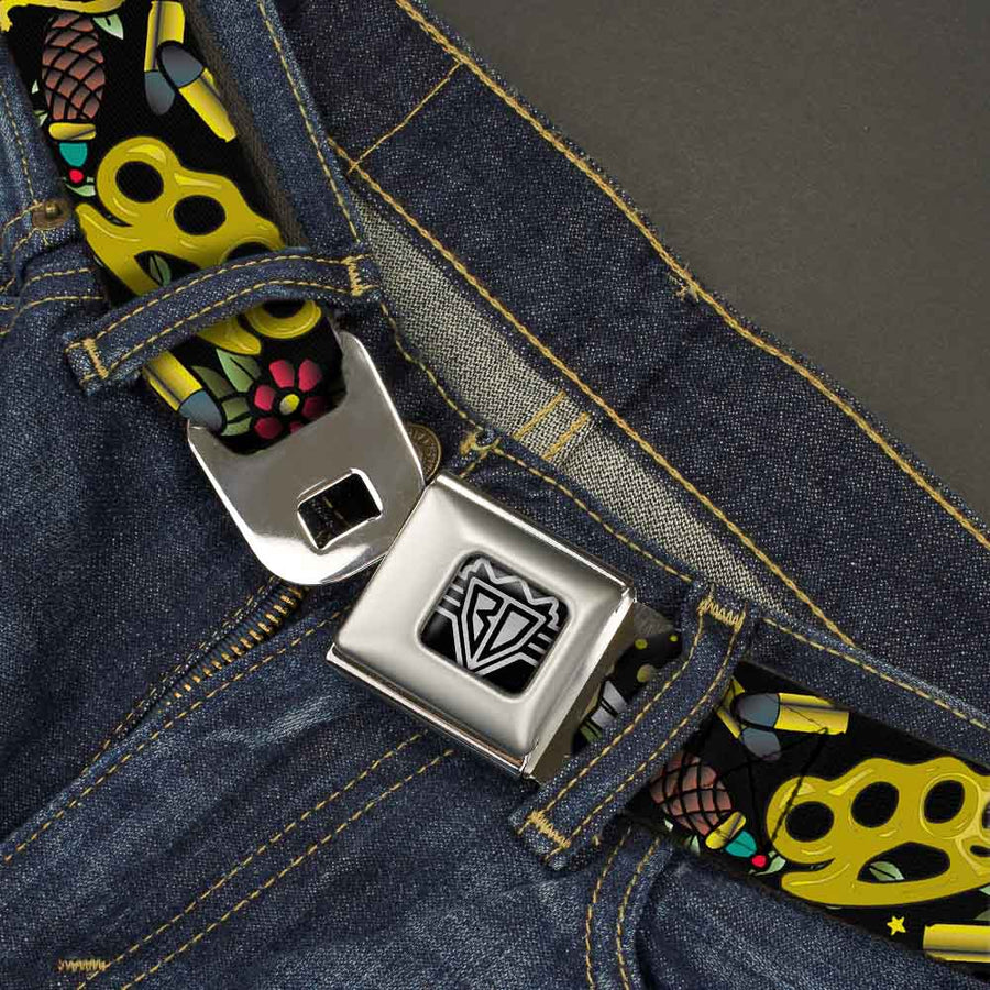 BD Wings Logo CLOSE-UP Full Color Black Silver Seatbelt Belt - Born to Raise Hell Black Webbing
