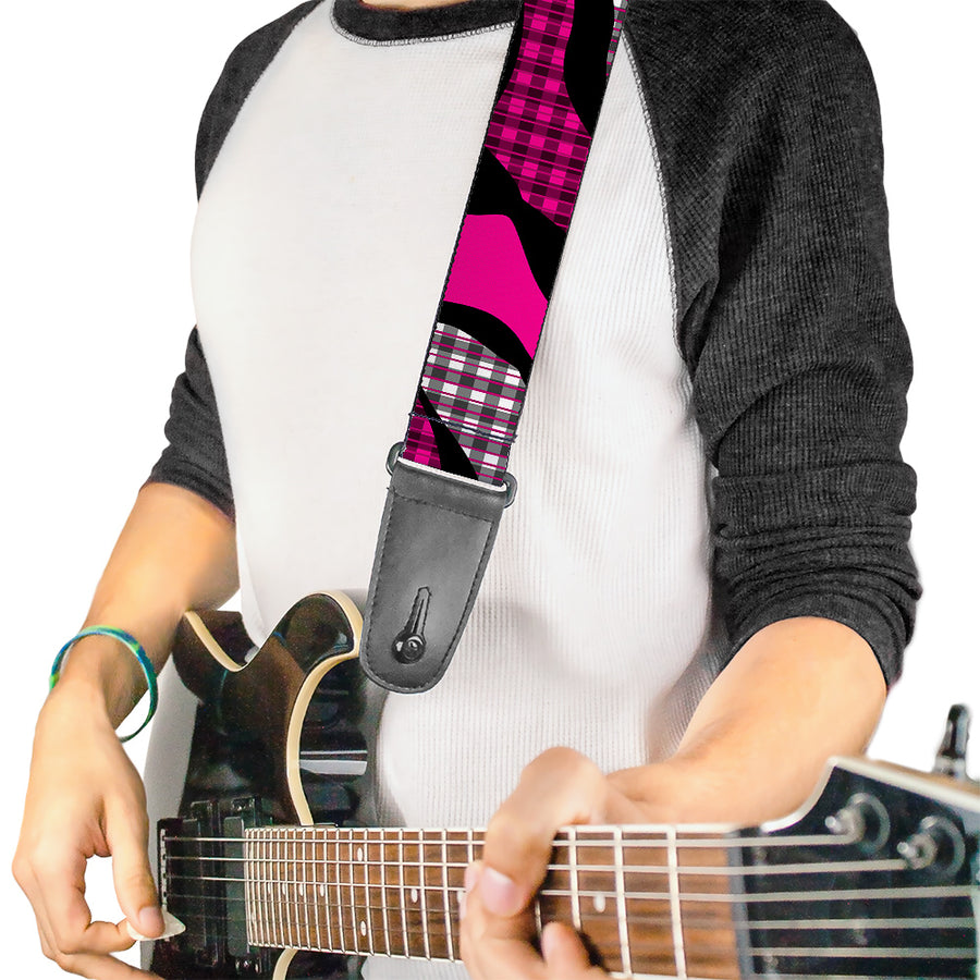 Guitar Strap - Buffalo Plaid Abstract White Black Fuchsia