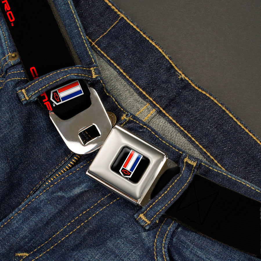 Camaro Badge Full Color Seatbelt Belt - CAMARO Badge Logo REPEAT Webbing
