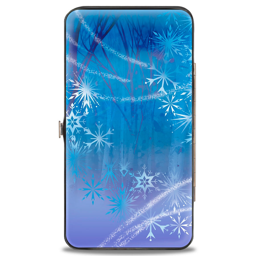 Hinged Wallet - Frozen II Elsa Pose Swirling Snowflakes Blues