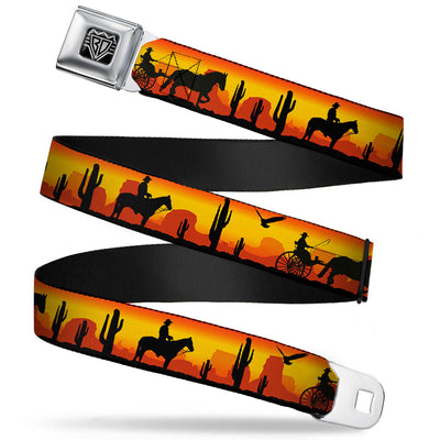BD Wings Logo CLOSE-UP Full Color Black Silver Seatbelt Belt - Cowboy Silhouette/Western Landscape Reds/Black Webbing