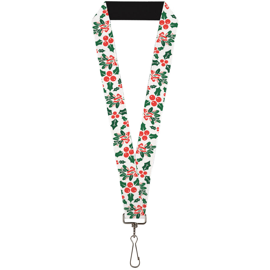 "Lanyard - 1.0"" - Holly & Mistletoe"