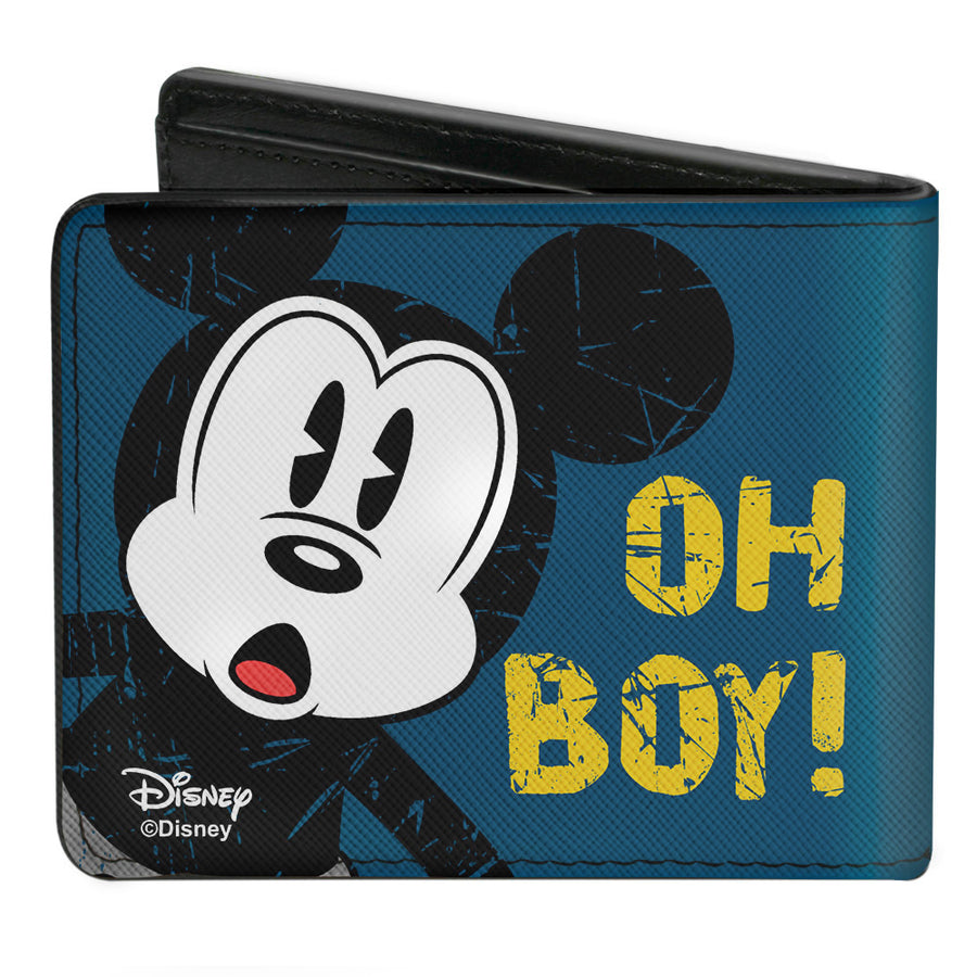 Bi-Fold Wallet - Mickey Mouse OH BOY! Pose Weathered Blue Gold
