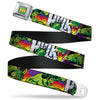 MARVEL COMICS THE HULK Full Color Seatbelt Belt - Hulk Stomping/Punching HULK Purple/Red/Orange/Yellow Webbing