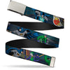 Chrome Buckle Web Belt - Batman Battling Villains in Tunnel Webbing
