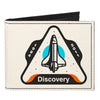 Canvas Bi-Fold Wallet - SPACE SHUTTLE DISCOVERY 1984-2011 Space Shuttle White Gray Blue Orange