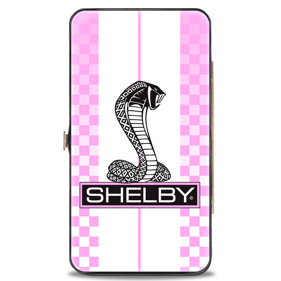 Hinged Wallet - SHELBY Tiffany Box Checker Stripe White Pinks Black