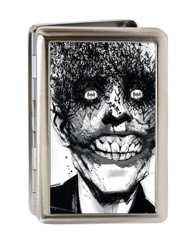 Business Card Holder - LARGE - Joker Bat Face My Dark Architect Cover Brushed Silver