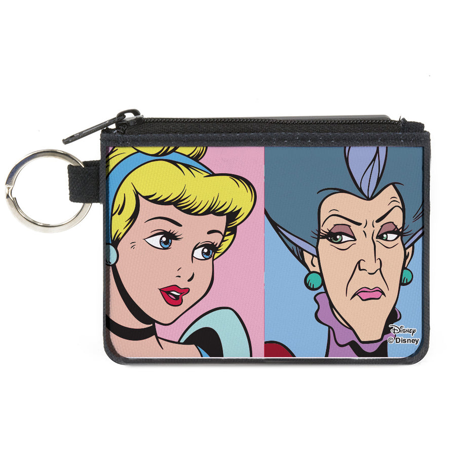 Canvas Zipper Wallet - MINI X-SMALL - Cinderella and Wicked Step Mother Lady Tremaine Face Blocks