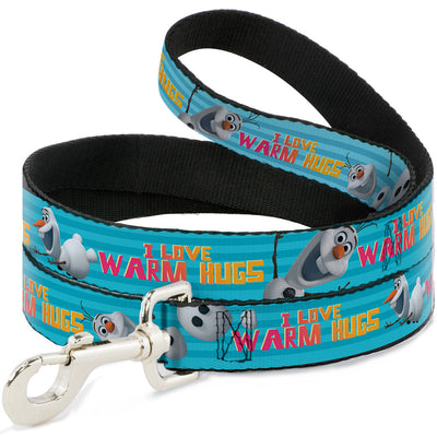 Dog Leash - Olaf Pose I LOVE WARM HUGS Stripe Blues