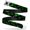 "Riddler ""?"" Black Silver Seatbelt Belt - Question Mark Scattere2 Black/Neon Green Webbing"