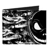 Canvas Bi-Fold Wallet - Jack Expression13 CLOSE-UP Halloween Town Scenes Black White Grays