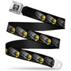 C6R Jake Skull Seatbelt Belt - C6 Racing w/Skull Repeat Black/Yellow/Silver Webbing