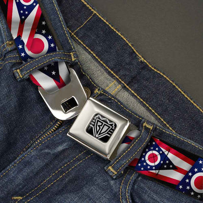 BD Wings Logo CLOSE-UP Full Color Black Silver Seatbelt Belt - Ohio Flags Stacked Webbing