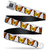 BD Wings Logo CLOSE-UP Black/Silver Seatbelt Belt - Monarch Butterfly Repeat White Webbing