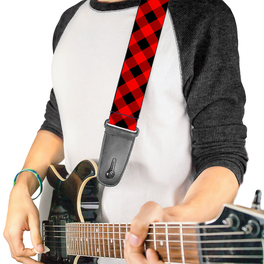 Guitar Strap - Diagonal Buffalo Plaid Black Red
