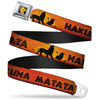 Simba2 CLOSE-UP Full Color Seatbelt Belt - Lion King HAKUNA MATATA Sunset Oranges/Black Webbing